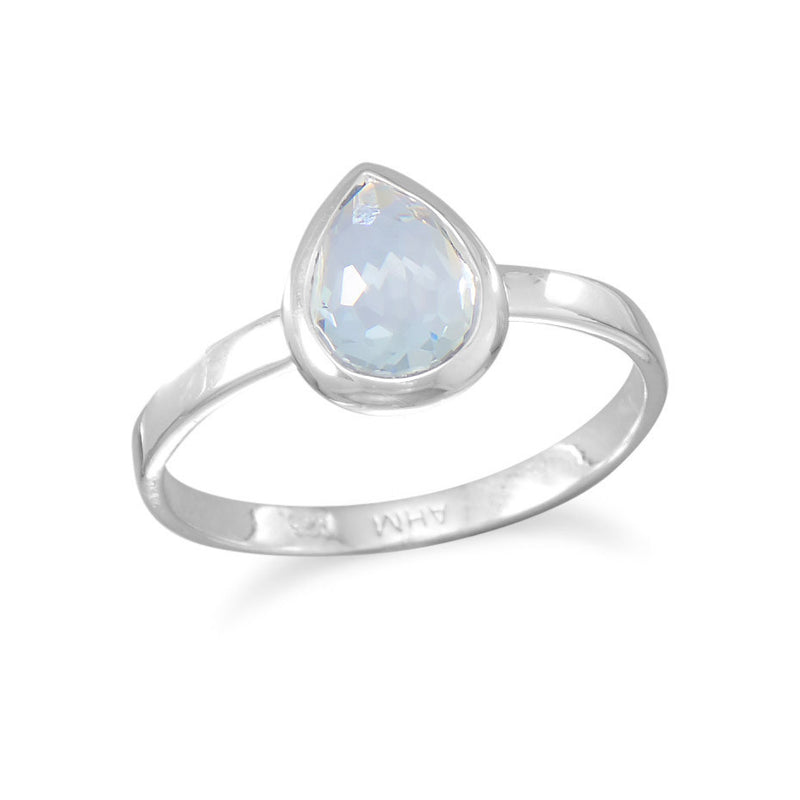 Small Pear Shape Freeform Faceted Light Blue Hydro Quartz Stackable Ring