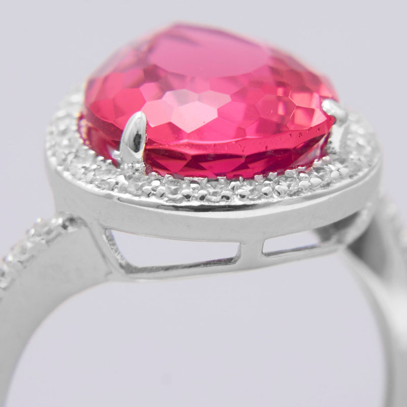 Rhodium Plated Red Pear Glass Ring with CZ Edge