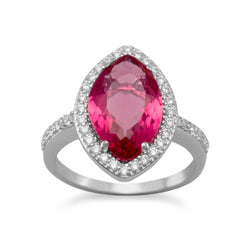Rhodium Plated Marquise Red Glass Ring with CZ Edge