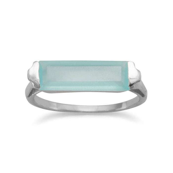 Rhodium Plated Green Chalcedony Bar Ring