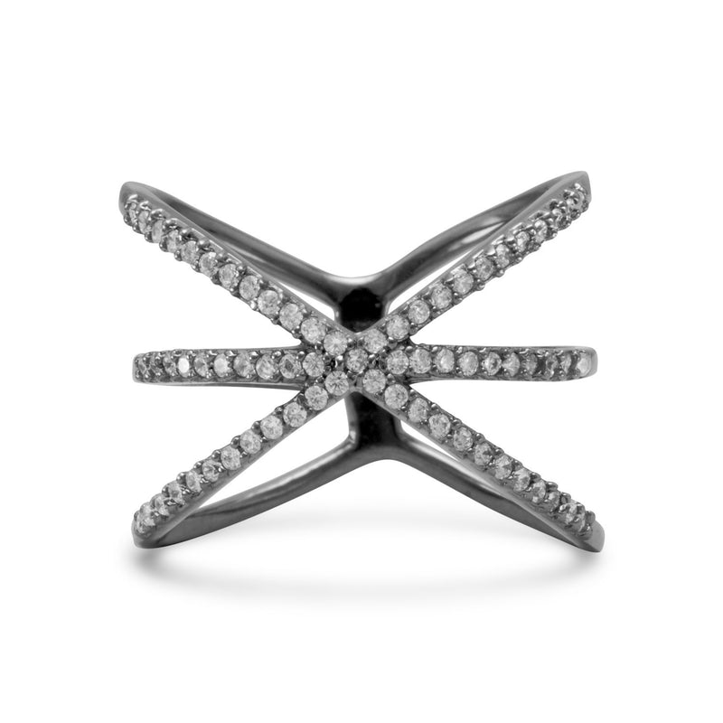 "Ruthenium Plated Triple Row Criss Cross ""X"" CZ Ring"