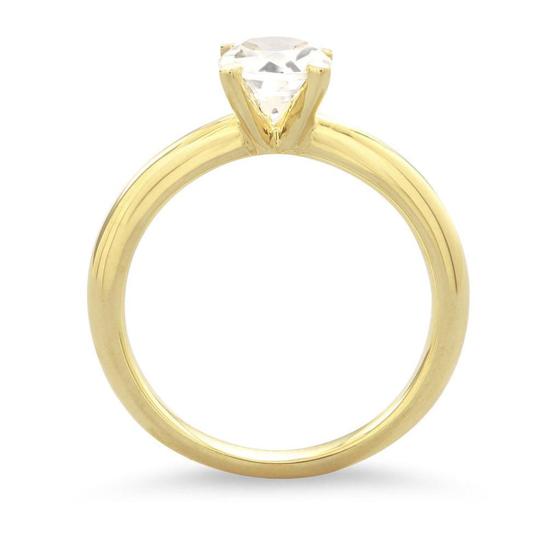 14 Karat Gold Plated White Topaz Solitaire Ring