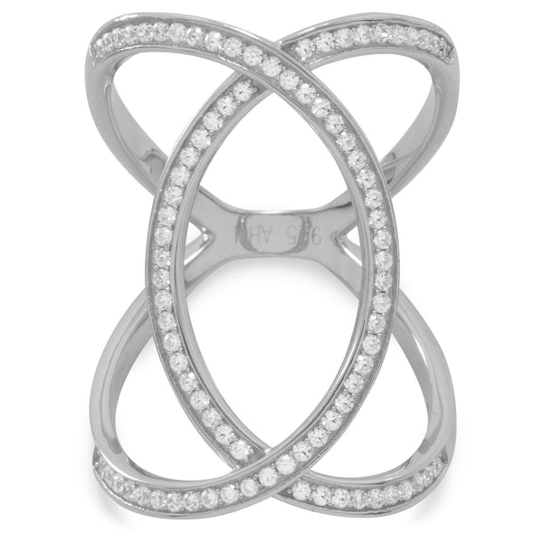 Rhodium Plated Overlap Design CZ Ring