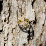 14 Karat Gold Plated Three Row Design CZ Ring