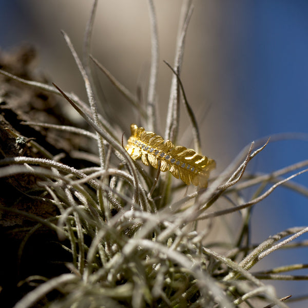 14 Karat Gold Plated CZ Feather Band