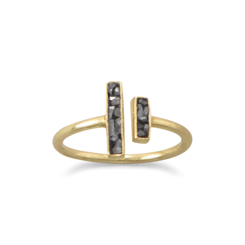 14 Karat Gold Plated Glass and Diamond Chip Ring