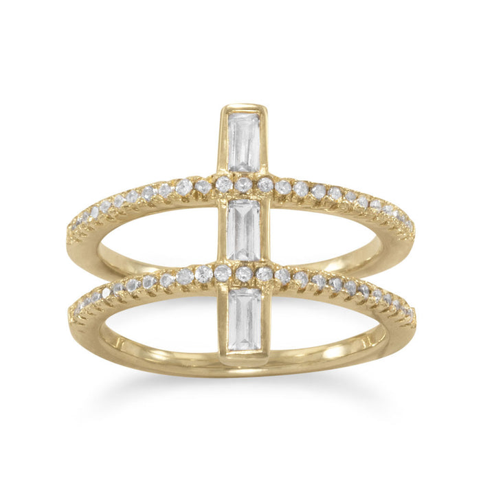 14 Karat Gold Plated CZ Double Cross Ring