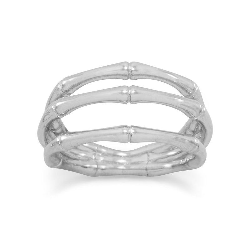 Rhodium Plated Bamboo Ring