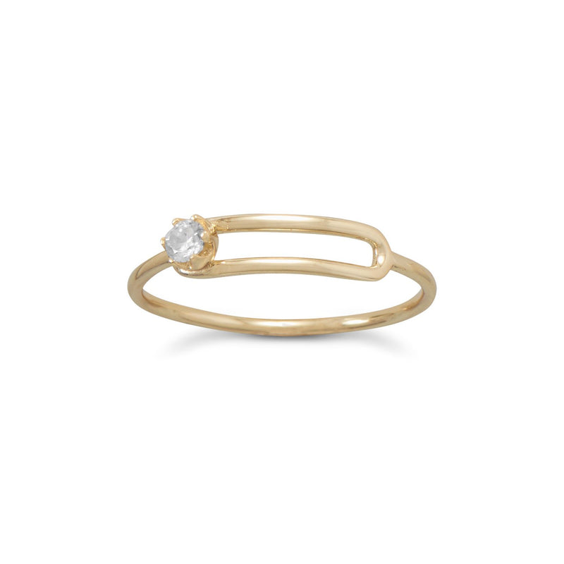 14 Karat Gold Plated Offset CZ Ring