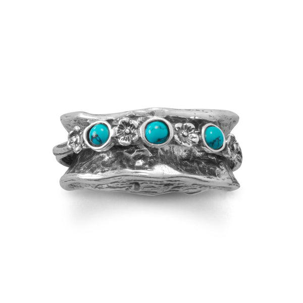 Oxidized Spin Ring with Reconstituted Turquoise Stones