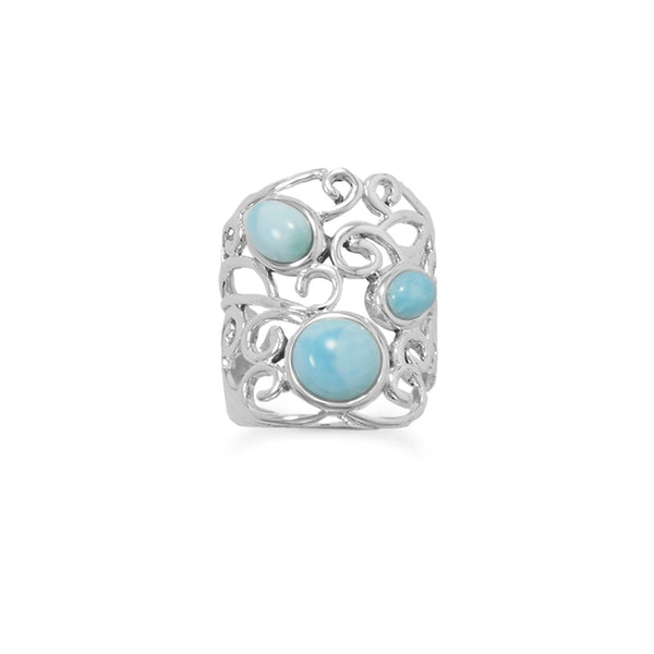Polished Ornate Larimar Ring
