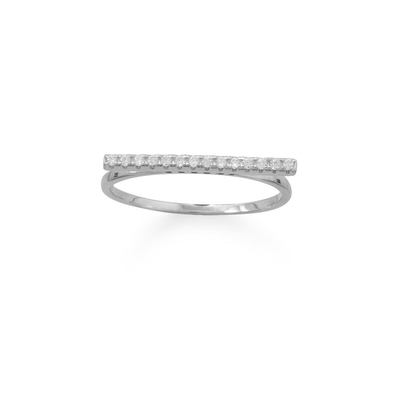 Rhodium Plated CZ Bar Ring