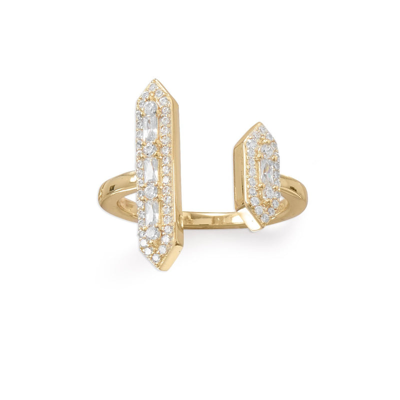 14 Karat Plated CZ Double Bar Cocktail Ring