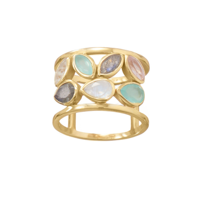 14 Karat Gold Plated Multi Stone Ring