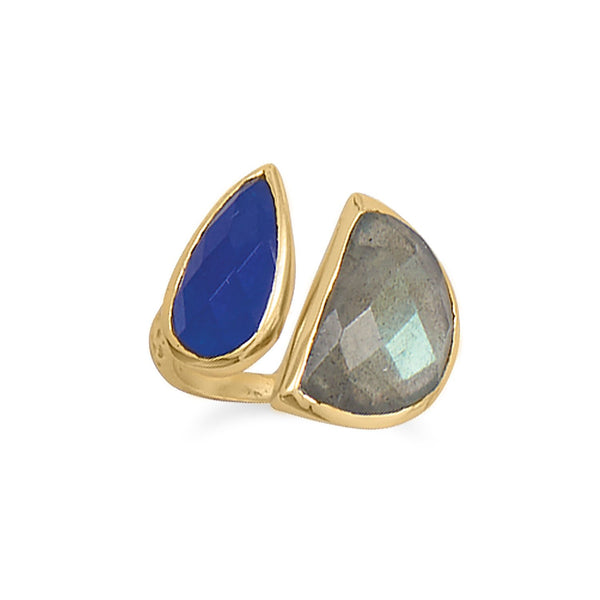 14 Karat Gold Plated Labradorite and Blue Jade Ring