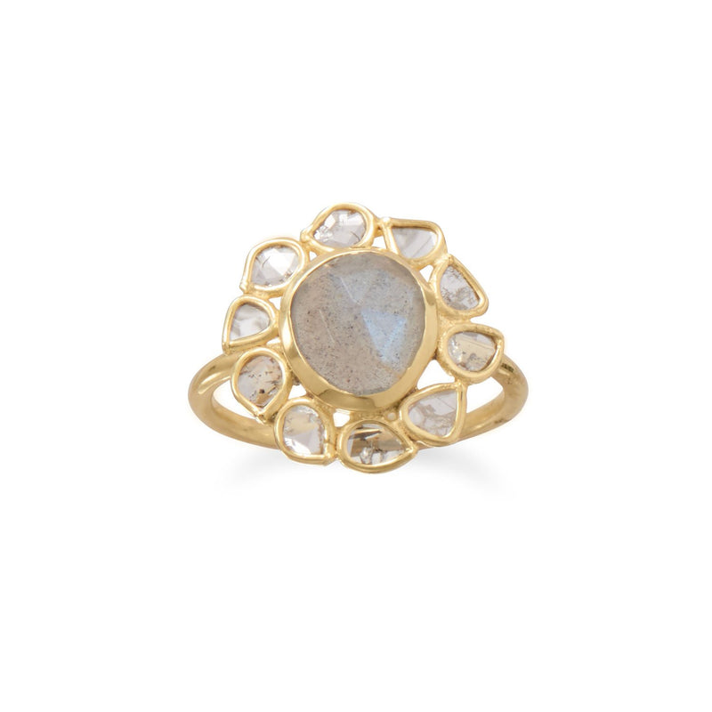 14 Karat Gold Plated Polki Diamond and Labradorite Ring