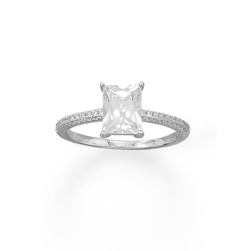 Rhodium Plated Baguette Cut CZ Ring with CZ Band