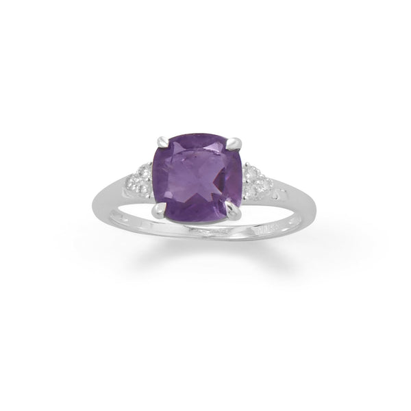 Sterling Silver Amethyst and CZ Band