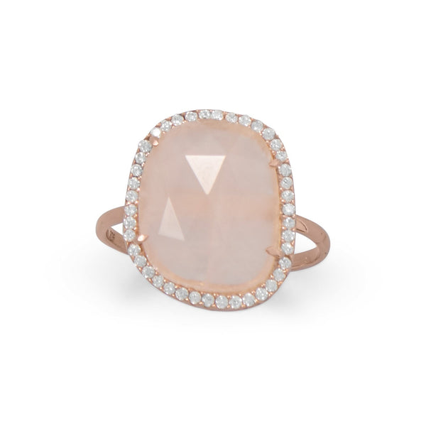 14K Rose Gold Plated Rose Quartz and CZ Halo Ring