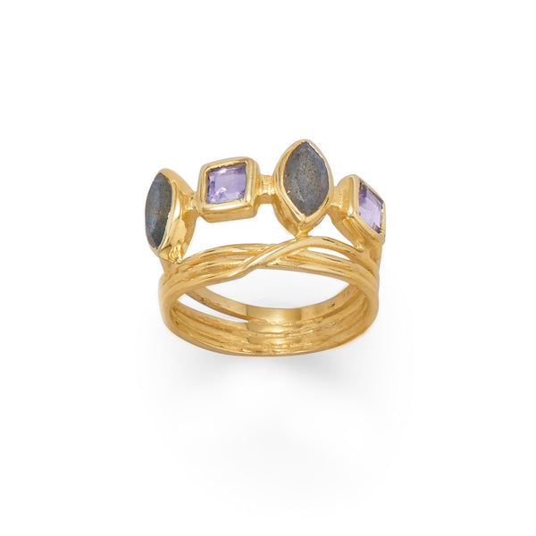 14 Karat Gold Plated Labradorite and Glass Ring