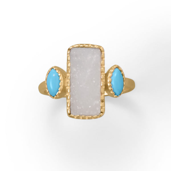 14 Karat Gold Plated Druzy and Synthetic Turquoise Ring