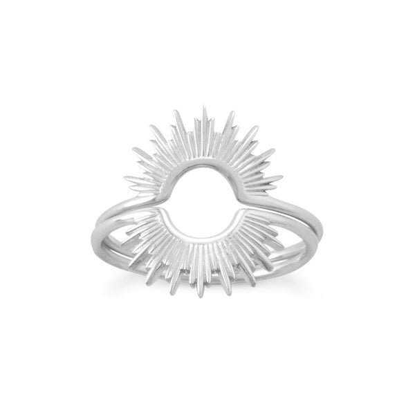 """Shine On!"" Shiny Silver Sunburst Ring"