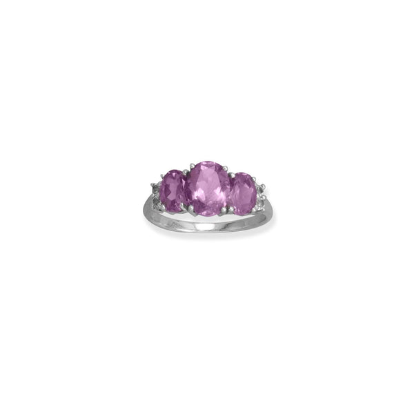 Rhodium Plated Amethyst and White Topaz Ring