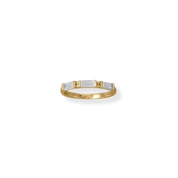Bodacious Baguettes! 14 Karat Gold Plated White Baguette CZ Ring