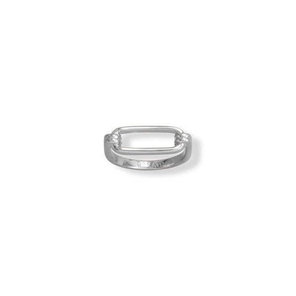 Rhodium Plated Paperclip Ring