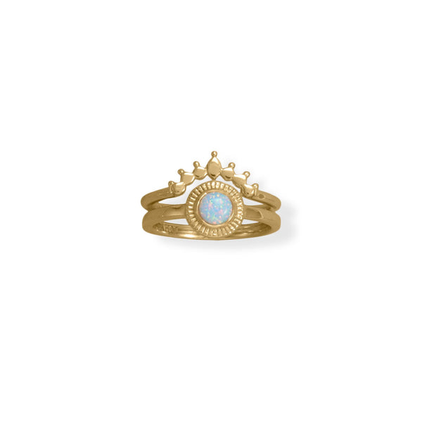 14 Karat Gold Plated Dot Crown Ring