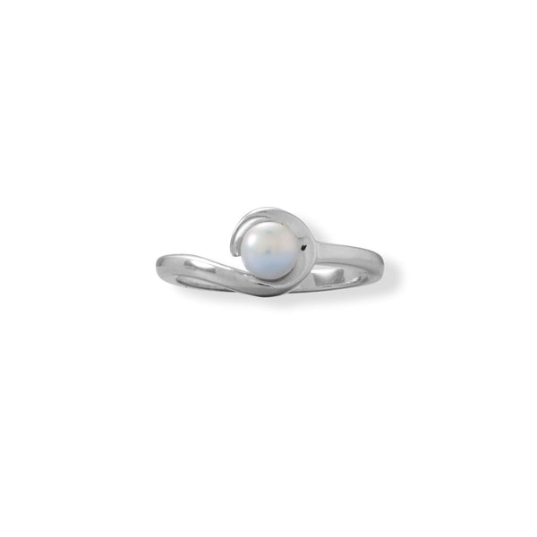 Rhodium Plated Hook Design Pearl Ring