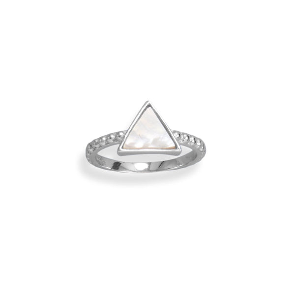 Rhodium Plated Triangle Shell and Beaded Band Ring