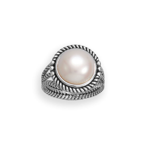 Oxidized Rope Edge and Cultured Freshwater Pearl Ring