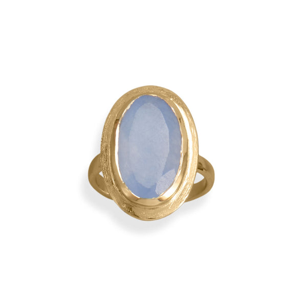 14 Karat Gold Plated Oval Chalcedony Ring