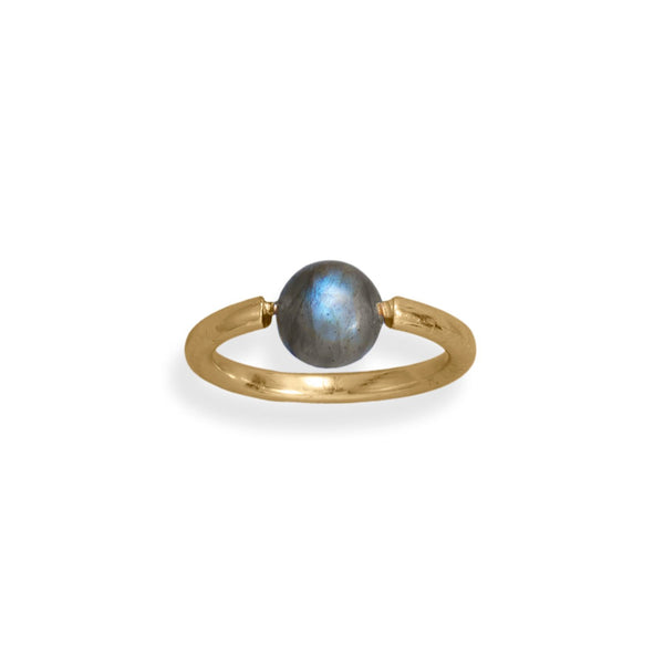 14 Karat Gold Plated Round Labradorite Ring