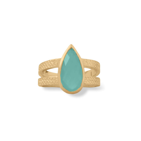 14 Karat Gold Plated Aqua Hydro Glass Ring