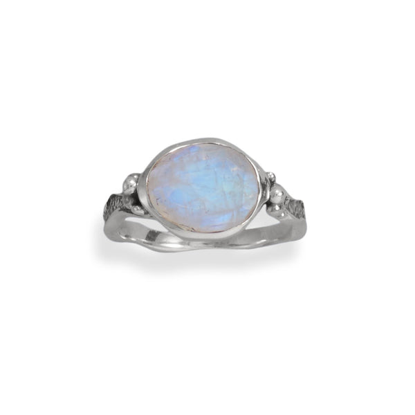 Oxidized Rainbow Moonstone Wavy Band Ring