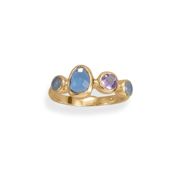 14 Karat Gold Plated Amethyst, Chalcedony and Hydro Glass Ring