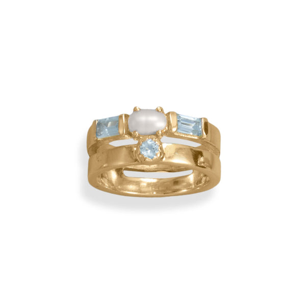 14 Karat Gold Plated Cultured Freshwater Pearl and Blue Topaz Ring