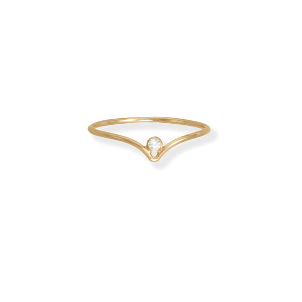 "14/20 Gold Filled CZ ""V"" Design Ring"