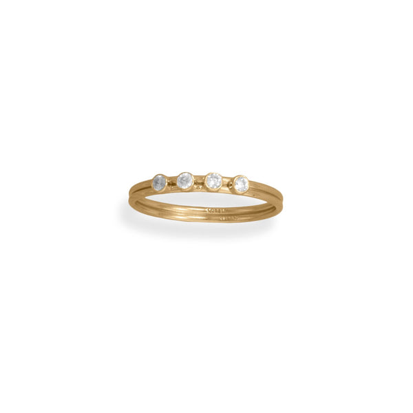 14/20 Gold Filled CZ Double Wire Ring