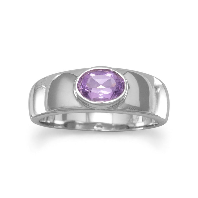 Amethyst Ring with a Polished Band