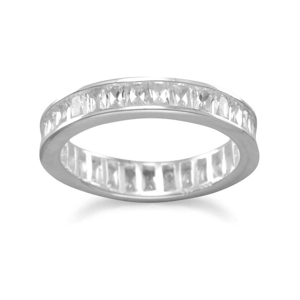 Rhodium Plated 4mm Baguette CZ Eternity Band