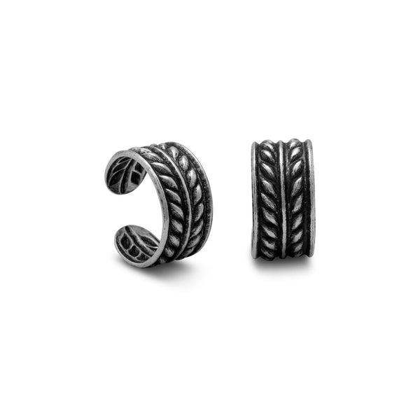 Two Row Oxidized Wheat Design Ear Cuffs