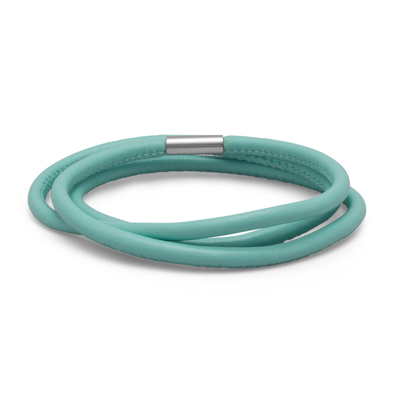 Triple Wrap Ocean Blue Leather Bracelet
