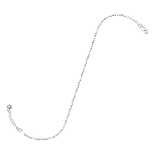 "9""+1"" Extension Faceted Bead Anklet"