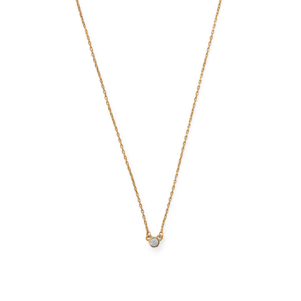 "15""+3.5 14 Karat Gold Plated Swarovski Crystal Necklace"