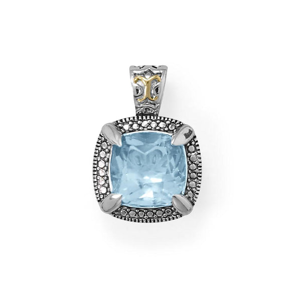 Beautifully Blue! 14 Karat Gold and Rhodium Plated Silver Blue Topaz Pendant