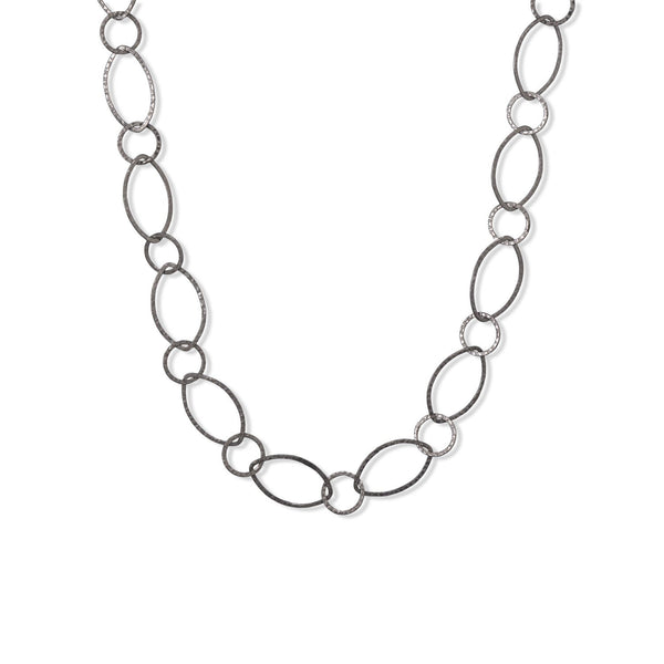 "24"" Gun Metal Plated Hammered Link Necklace"