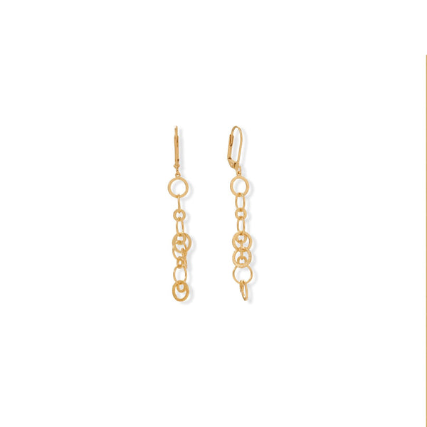 14 Karat Gold Plated Brass Link Drop Earrings